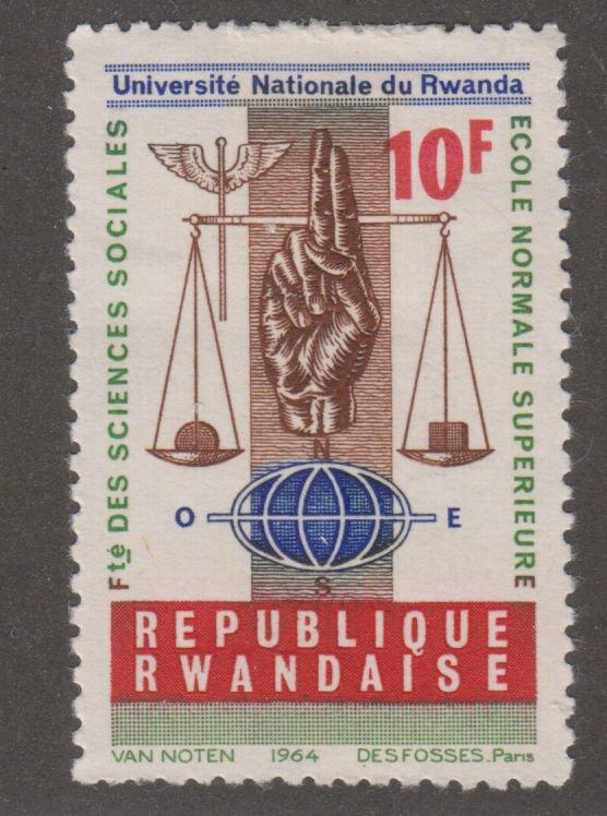 Rwanda 90 Scales, hand, staff of Mercury and globe 1965