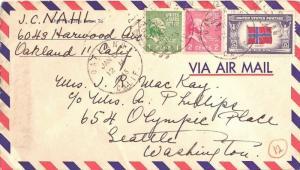 United States California Oakland 1945 numeral duplex  5c Norway Overrun Natio...