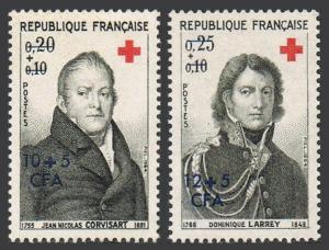 Reunion B20-B21,MNH.Michel 436-437. Red Cross 1964.Jean N.Corvisart,D.Larrey.