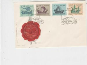 Poland 1963 Wax Seal Pic Ships Sailing Slogan FDC Multiple Stamps Cover Ref25023