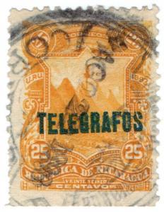 (I.B) Nicaragua Telegraphs : 25c Deep Yellow