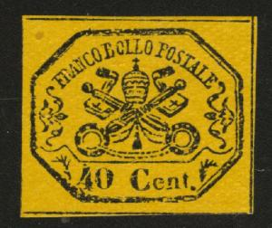 Roman or Papal States Scott 17 MNH* 1867 Glazed Paper Imperf