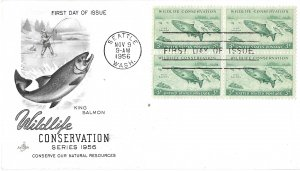 #1079 FDC, 3c Wildlife Conservation, Art Craft cachet, block of 4