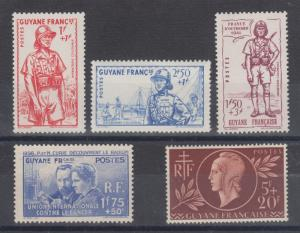 French Guiana Sc B3/B12 MLH. 1938-41 Semi Postals, 3 complete sets, LH