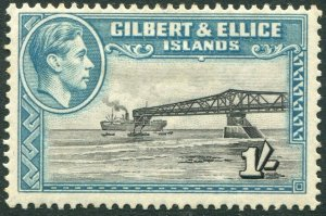 GILBERT & ELLICE ISLANDS-1943 1/- Brownish-Black & Turquoise-Blue Sg 51a MM