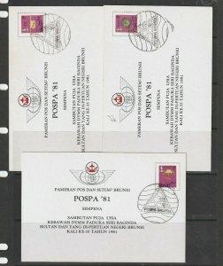 Brunei, POSPA 81 Cards, 7, ith Popsa cancel, Various regalia stamps, as shown
