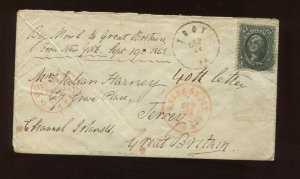 Scott  69 Washington Used Stamp on 1863 Cover Troy PA to Jersey, Channel Islands