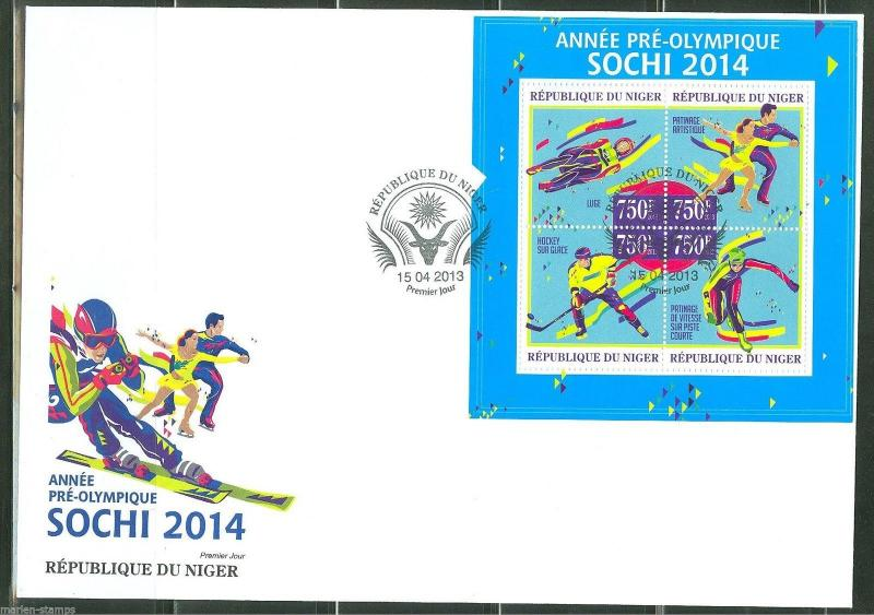 NIGER  2013 SOCHI 2014 PRE OLYMPIC ISSUE SHEET FIRST DAY COVER