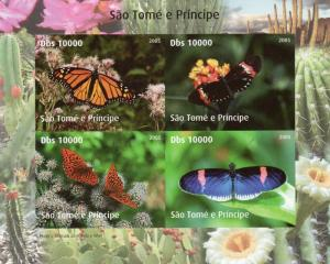 Sao Tome and Principe 2005  Butterflies/WWF w/Logo Shlt (4) Imperforated  MNH VF