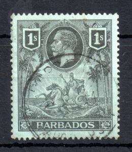 Barbados KGV 1912 1/- black green good used SG#178 WS13507