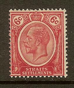 Straits Settlements, Scott #189, 6c King George V, MH