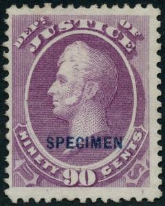 #O34SD 90¢ JUSTICE DEPT SPECIMEN OVPT TYPE D VF 1875 REISSUE 152 EXIST WLM3556
