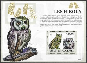 Comoro Islands MNH S/S Owls 2009  HOOT!! HOOT!!