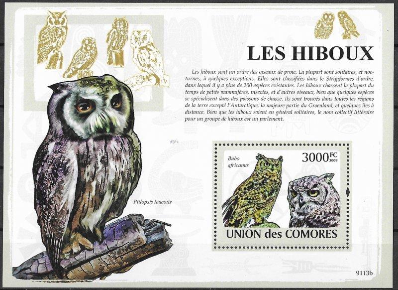 Comoro Islands MNH S/S Owls 2009 HOOT!!! HOOT!!!!