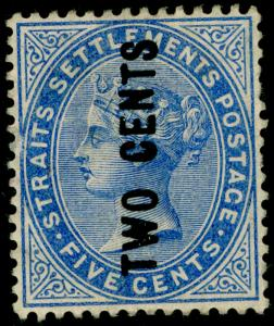 MALAYSIA - Straits Settlements SG76, 2c on 5c blue, UNUSED. Cat £170.