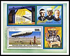 Upper Volta C237, CTO, 75th Anniversary of Zeppelin Airship souvenir sheet