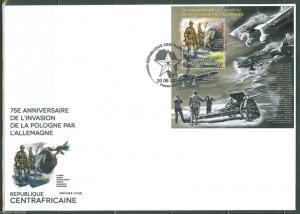 CENTRAL AFRICA 2014 GERMAN INVASION OF POLAND START OF WORLD WAR II  S/S FDC