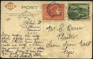 TASMANIA 1907 postcard ex BURNIE to Fiji with Levuka arrival cds...........21623
