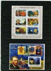 COMOROS 2008 PAINTINGS BY VINCENT VAN GOGH SHEET OF 6 STAMPS & S/S MNH