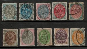 Denmark Stamp Set Scott #26 to 34 (26-34), Used - Free U.S. Shipping, Free Wo...