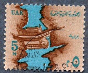 Egypt Scott #604 5m Nile and Aswan High Dam Light Blue Water (1964) Used