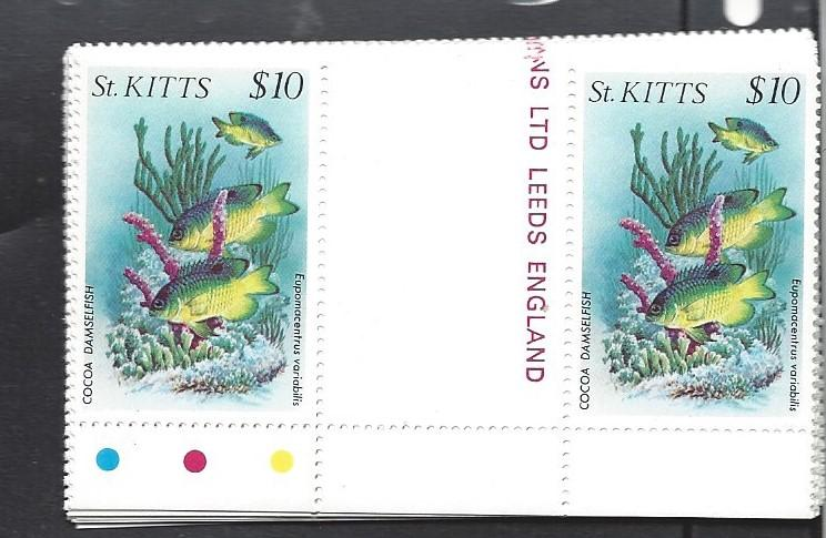 St. Kitts, 139-52, Fish GUTTER PAIRS  NH