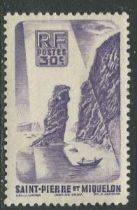 St Pierre et Miquelon.-Scott 325 -Soldiers Bay -1947 -MLH- Single 30c Stamp