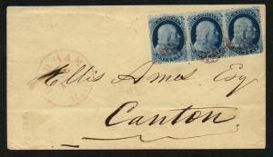 US Scott #22 Strip of 3 Stamps Pos. 87L4, 88L4, 89L4 Dedham MA CDS Cancels