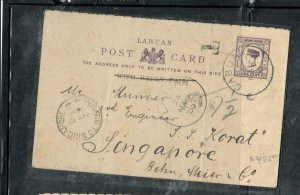 LABUAN COVER (P2912B) QV 1C PSC 1900 PENANG TO SINGA ANTIQUE OVER 100 YEARS OLD