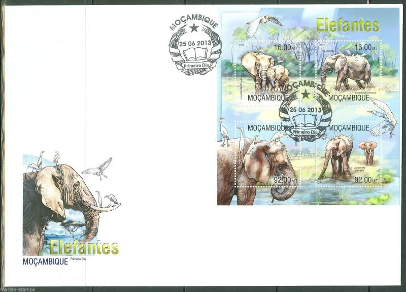 MOZAMBIQUE  2013 ELEPHANTS  SHEET  FIRST DAY COVER