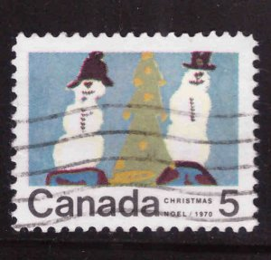 Canada Scott 523 Used stamp typical cancel Christmas 1970