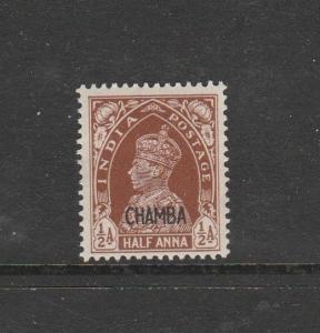 India, Chamba, 1942/7 Opt on 1937, CHAMBA only 1/2a MM SG 100, Cat £85