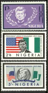 NIGERIA 1964 JOHN F KENNEDY Set Sc 159-161 MNH