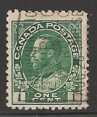Canada 1911 King George V, 1 cent, Scott #104, used