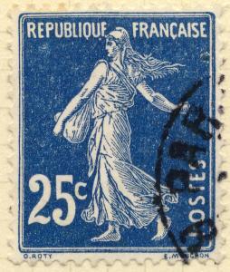 FRANCE - 1907 - Yv.140/Mi.119ax 25c bleu foncé Type 1A - Obl. TB