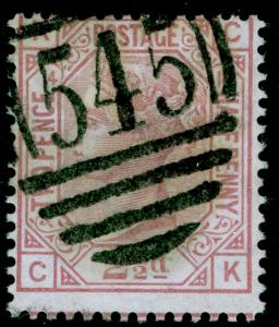 SG141, 2½d rosy mauve PLATE 14, USED. Cat £80. CK