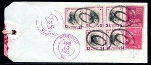 U.S. Scott 832 (5), 829, 806 Prexies On Registered 1955 Missouri Bank Tag