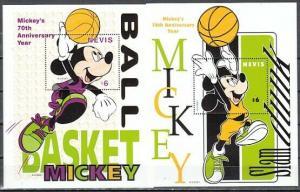 Nevis, Scott cat. 1122-1123. Mickey Mouse & Basketball s/sheets