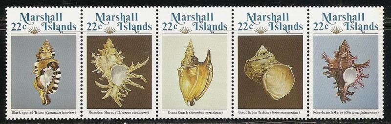 Marshall Islands 69a 1985 Shells Strip MNH