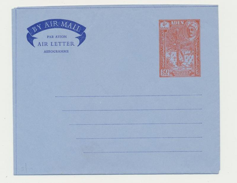 ADEN HADHRAMAUT, 50c AIR LETTER, VF UNUSED