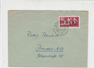 German DDR 1962 Riesa 1 Cancel Int Bicycle Ride for Peace Stamp Cover Ref 30142