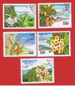 Laos #467-471  VF used  Flora short set   Free S/H