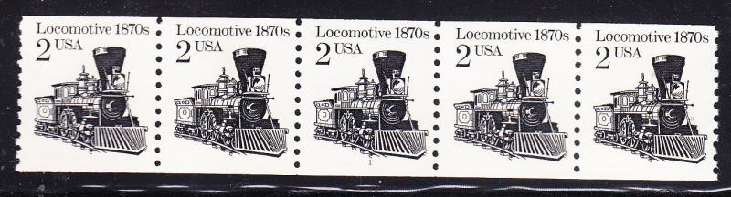 Locomotive 1870's .2c Plate Number Coil Strip of 5. Nr.-1