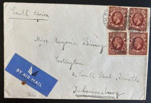 1936 England Airmail Cover To Johannesburg South Africa