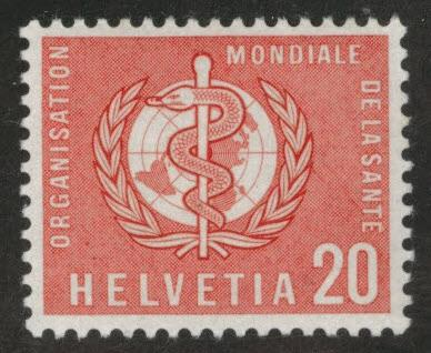 Switzerland Scott 5o28 MNH** Vermillion World Health Organization, WHO stamp