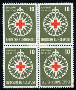 GERMANY BUNDESREPUBLIK  SCOTT#696  BLOCK  2 STAMPS NH & 2 HINGED  MINT