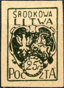 Central Lithuania #2 Coat of Arms Unused/H