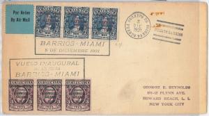 AVIATION  - GUATEMALA -  POSTAL HISTORY COVER - 1st FLIGHT BARRIOS - MIAMI 1931