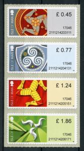 Isle of Man IOM 2017 MNH Triskelion Definitives Post & Go 4v Strip Stamps