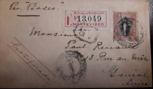 O) 1897 CIRCA - URUGUAY, LIBERTY 25c, REGISTERED FROM MONTEVIDEO, CERTIFICATE